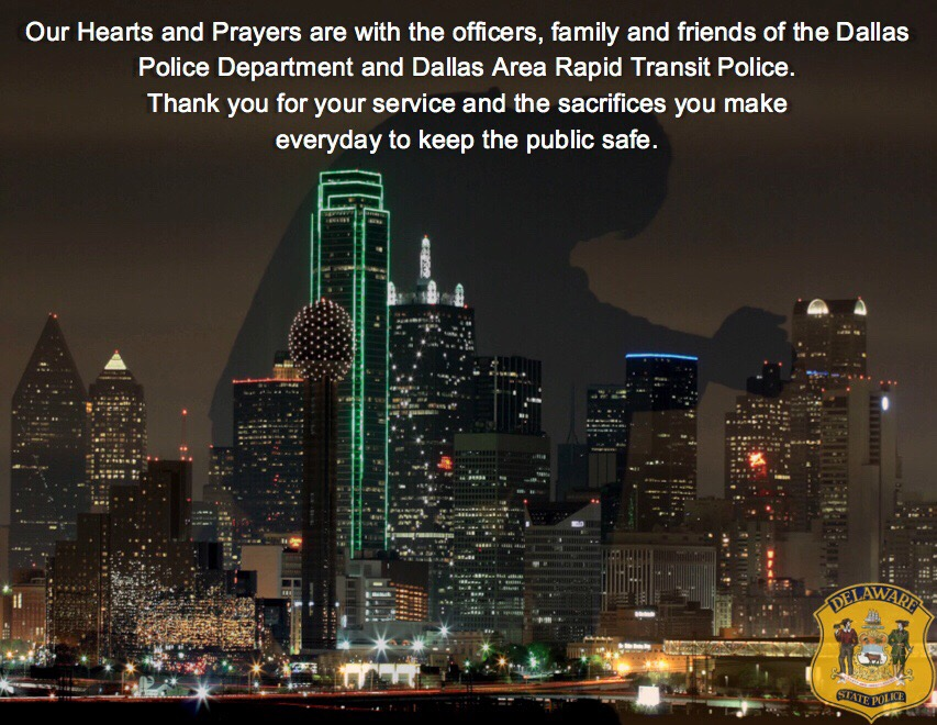 Our thoughts and prayers for the Dallas Police