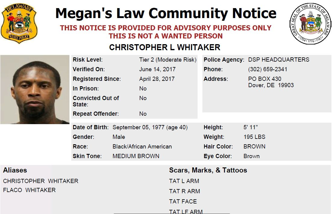 Wilmington delaware mug shot sex offenders