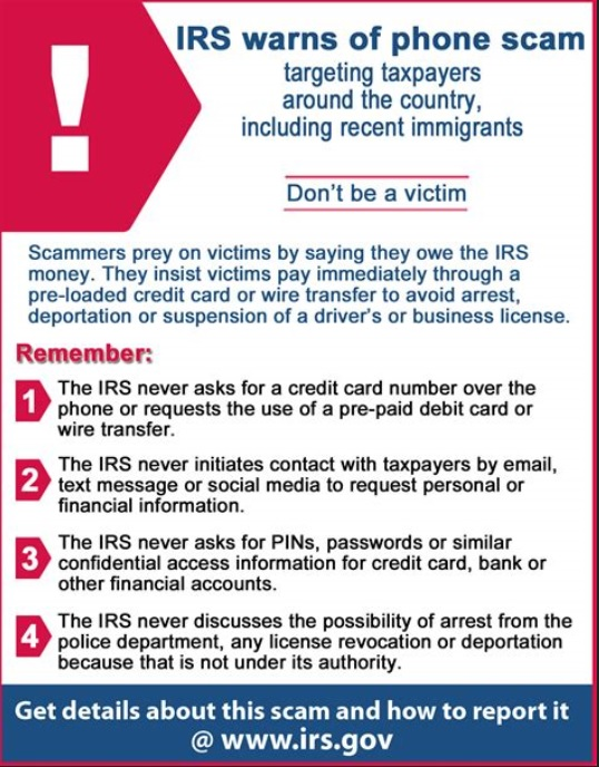 IRS Scam Tip Sheet